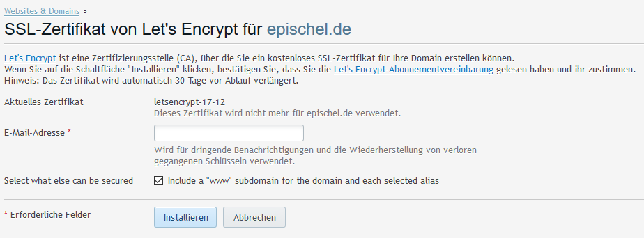 Let\'s Encrypt SSL-Zertifikate auf Knopfdruck – kopf.lastig